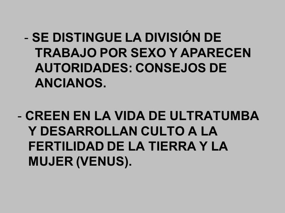- SE DISTINGUE LA DIVISIÓN DE TRABAJO POR SEXO Y APARECEN AUTORIDADES: CONSEJOS DE ANCIANOS.