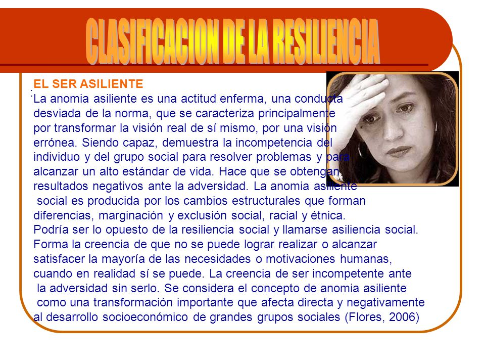 CLASIFICACION DE LA RESILIENCIA