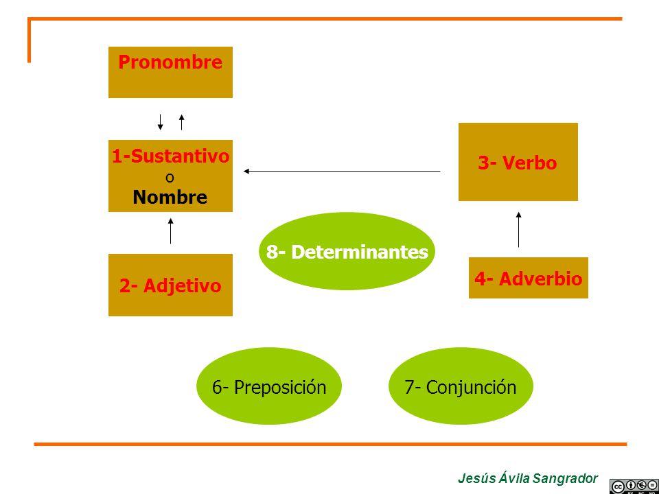 Pronombre 3- Verbo 1-Sustantivo Nombre 8- Determinantes 2- Adjetivo