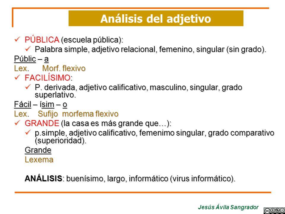 Análisis del adjetivo PÚBLICA (escuela pública):