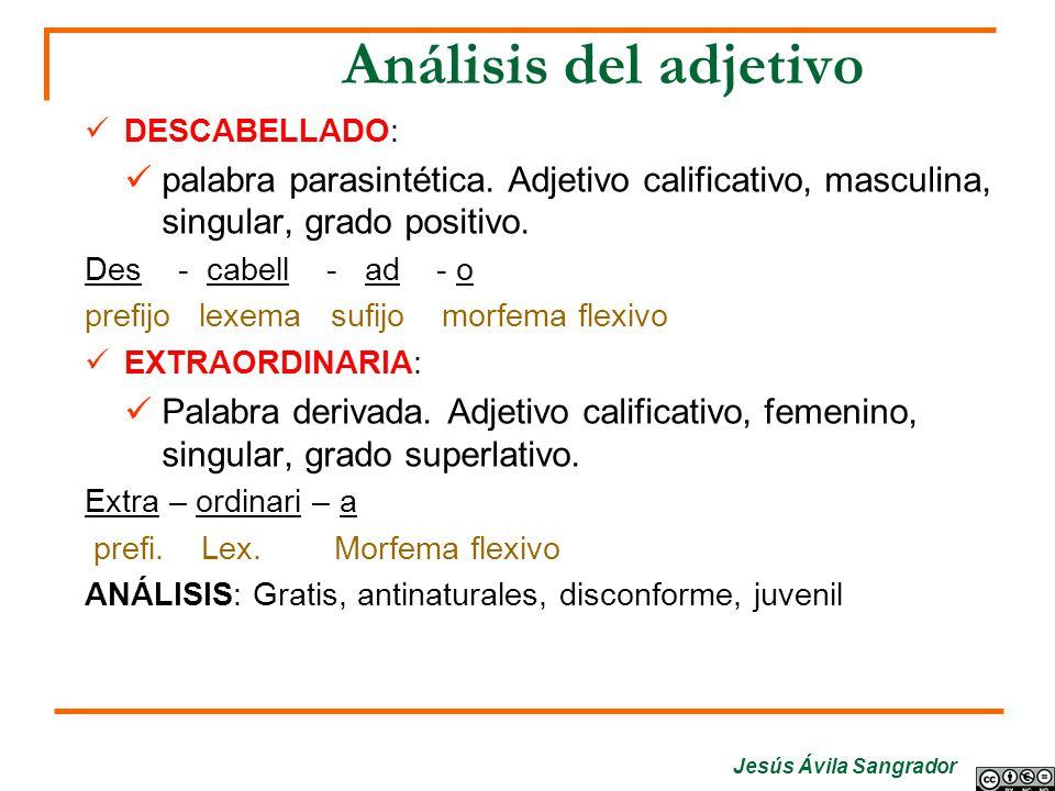 Análisis del adjetivo DESCABELLADO: palabra parasintética. Adjetivo calificativo, masculina, singular, grado positivo.