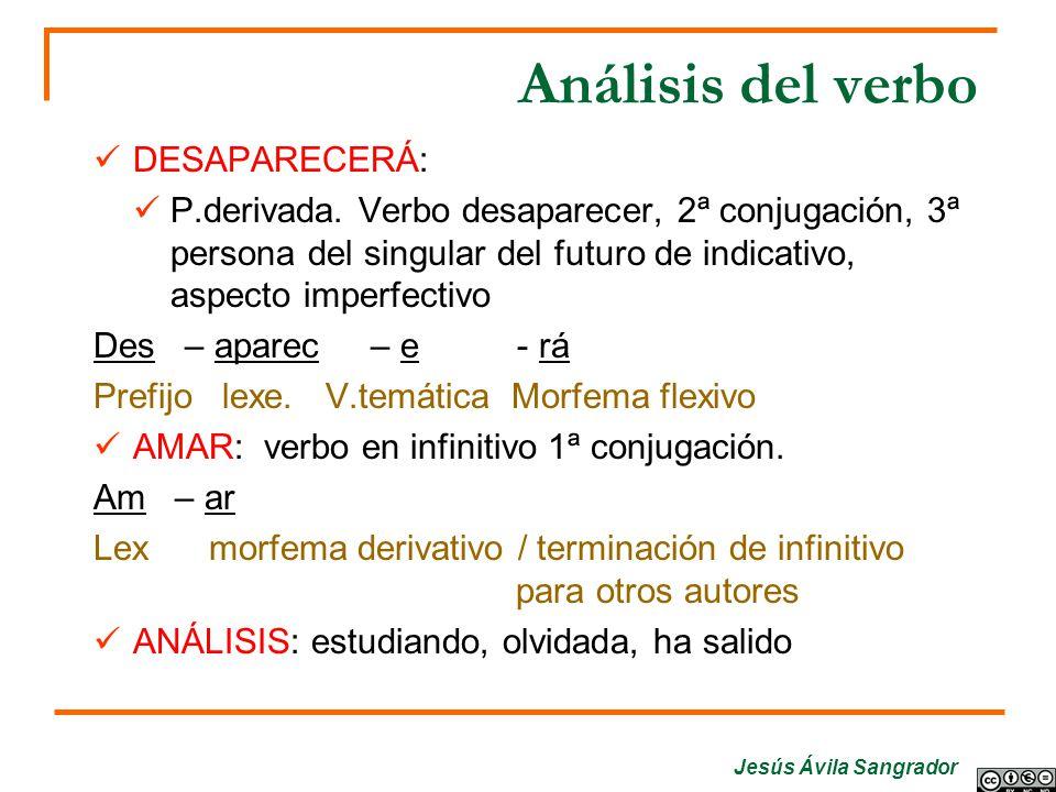 Análisis del verbo DESAPARECERÁ: