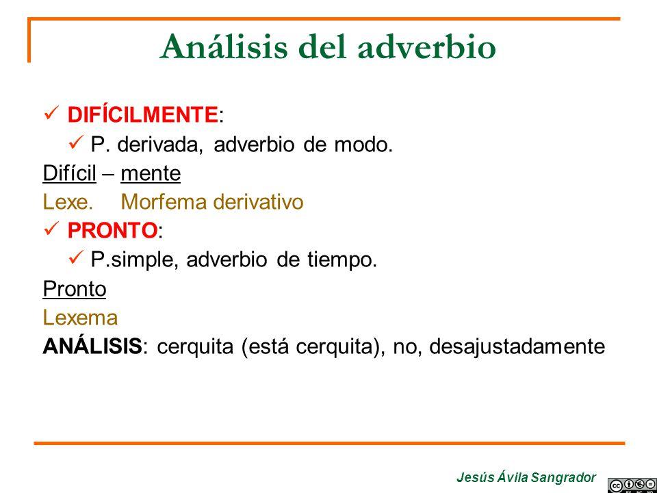 Análisis del adverbio DIFÍCILMENTE: P. derivada, adverbio de modo.