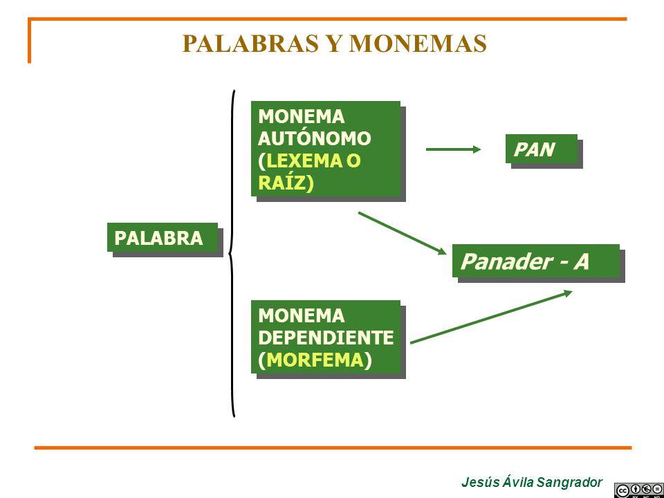 PALABRAS Y MONEMAS Panader - A MONEMA AUTÓNOMO (LEXEMA O RAÍZ) PAN