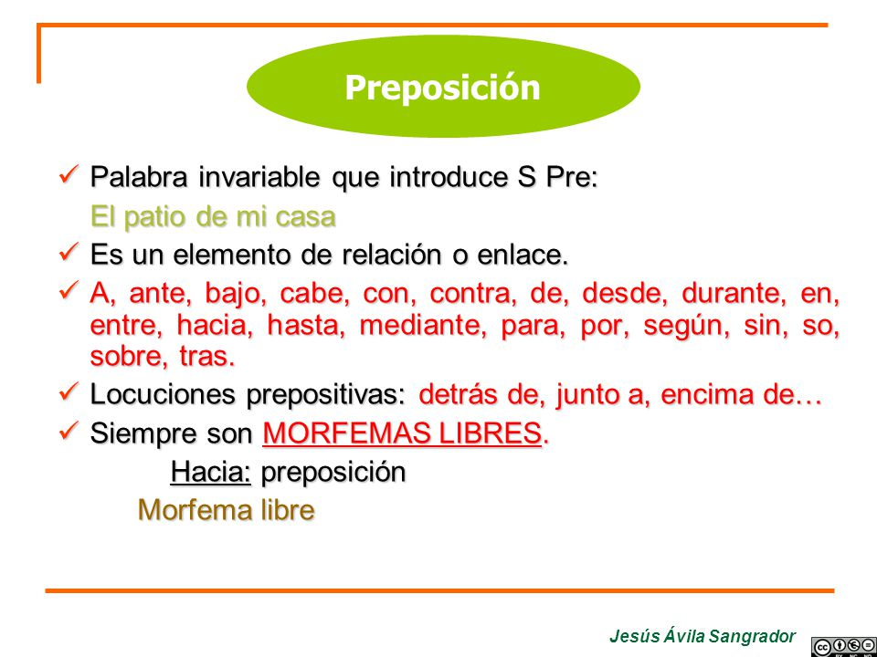 Preposición Palabra invariable que introduce S Pre: