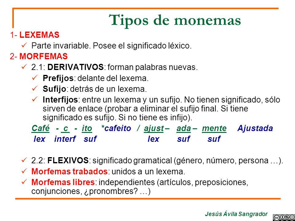 Tipos de monemas 1- LEXEMAS