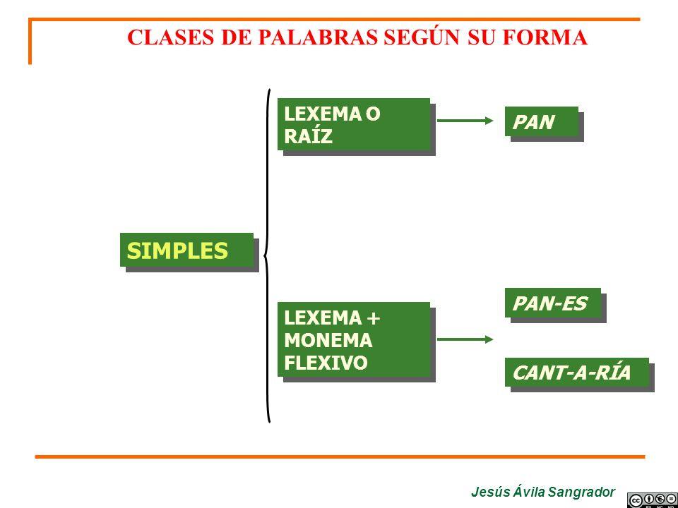 CLASES DE PALABRAS SEGÚN SU FORMA