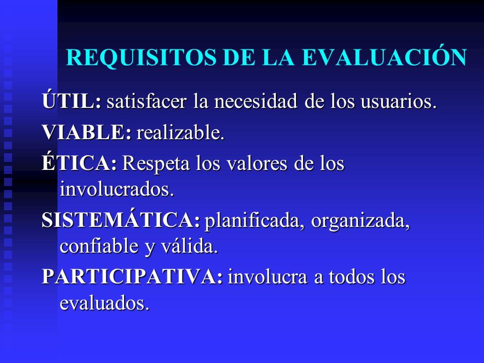 REQUISITOS DE LA EVALUACIÓN