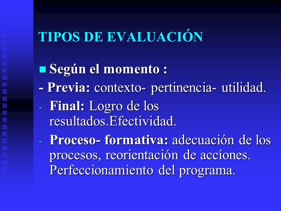 TIPOS DE EVALUACIÓN Según el momento : - Previa: contexto- pertinencia- utilidad. Final: Logro de los resultados.Efectividad.
