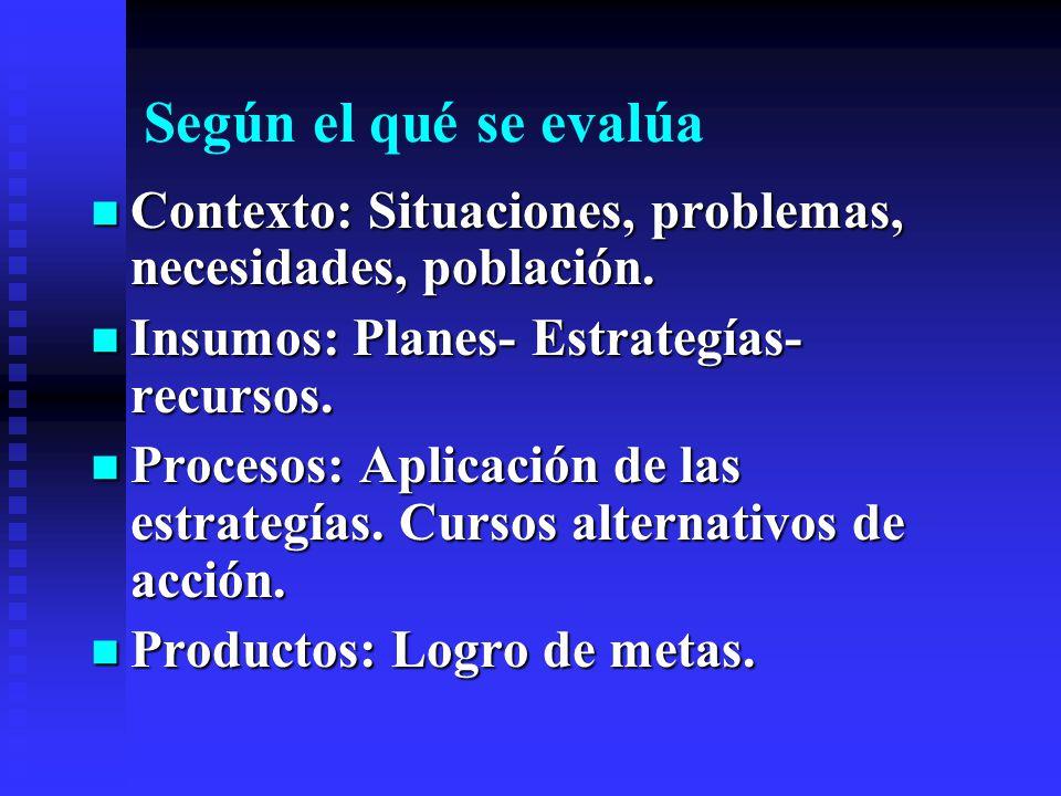 Según el qué se evalúa Contexto: Situaciones, problemas, necesidades, población. Insumos: Planes- Estrategías- recursos.