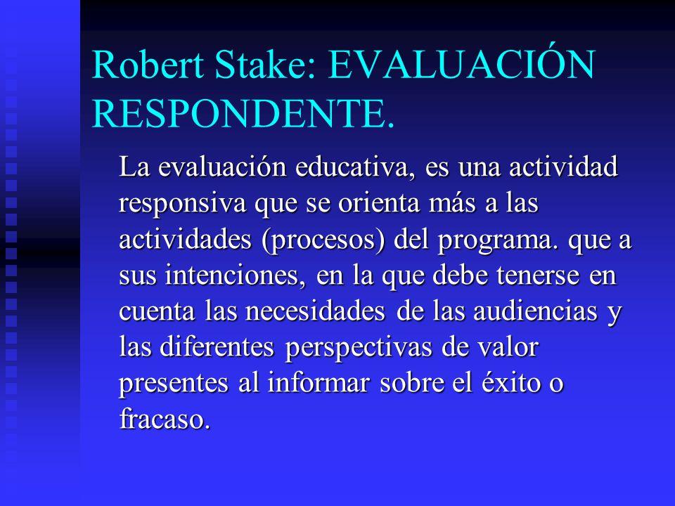 Robert Stake: EVALUACIÓN RESPONDENTE.