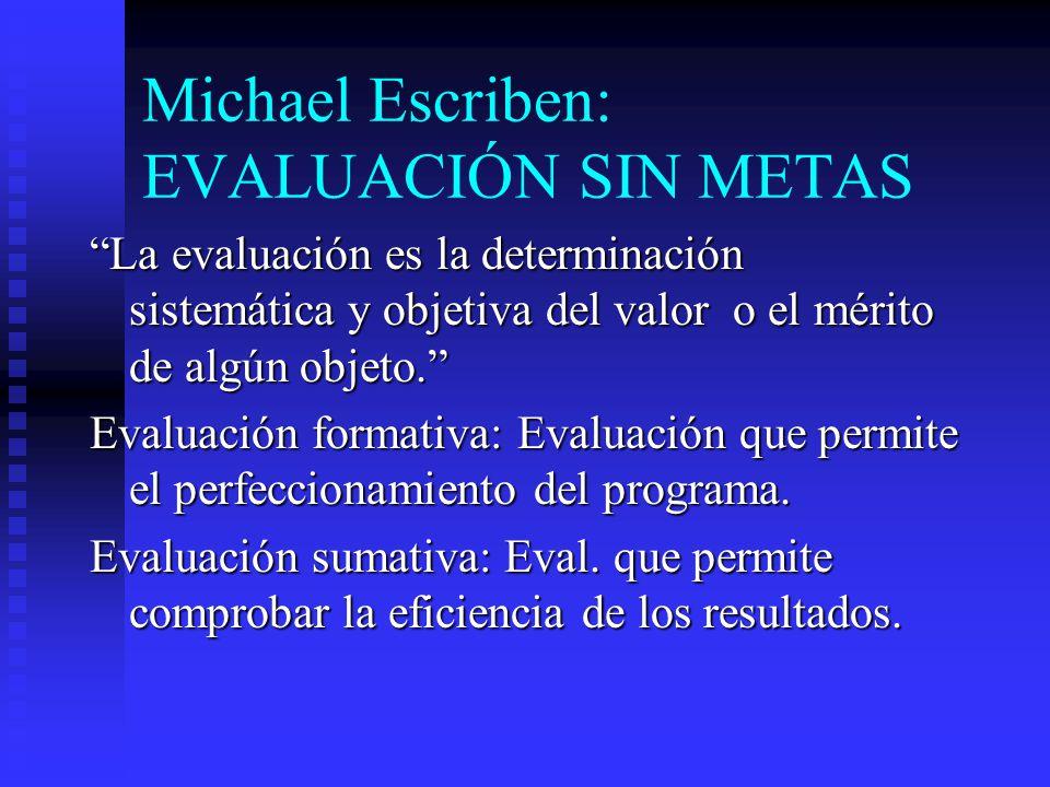 Michael Escriben: EVALUACIÓN SIN METAS