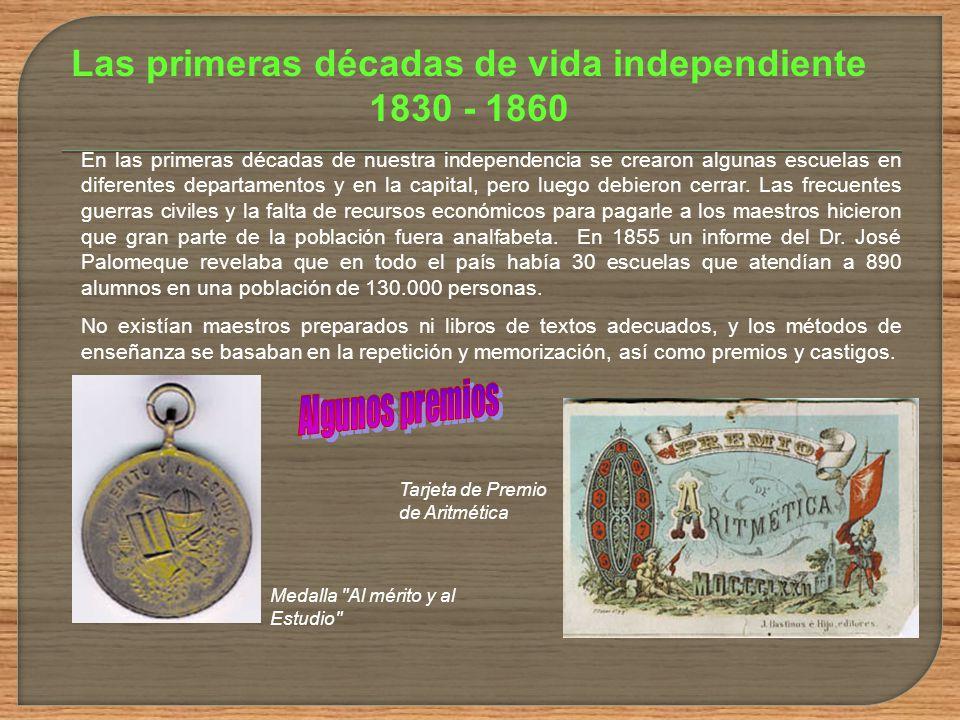 Las primeras décadas de vida independiente 1830 - 1860