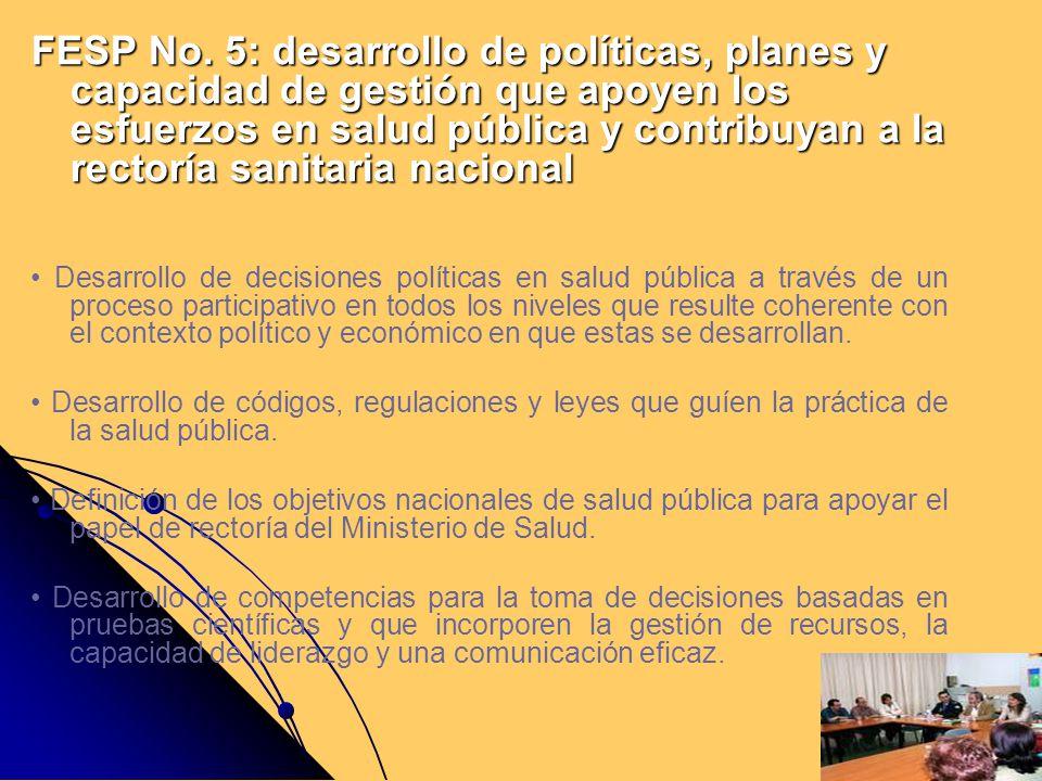 FESP No. 5: desarrollo de políticas, planes y capacidad de gestión que apoyen los esfuerzos en salud pública y contribuyan a la rectoría sanitaria nacional