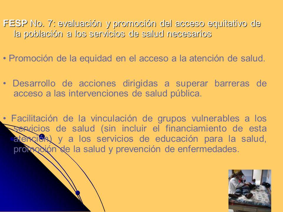 FESP No. 7: evaluación y promoción del acceso equitativo de la población a los servicios de salud necesarios