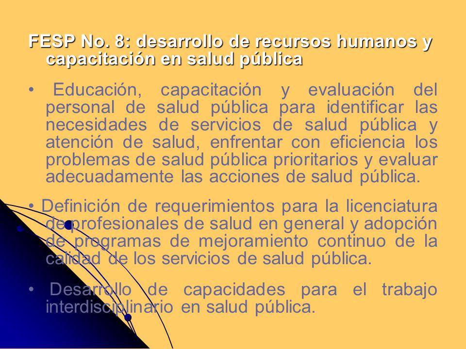 FESP No. 8: desarrollo de recursos humanos y capacitación en salud pública