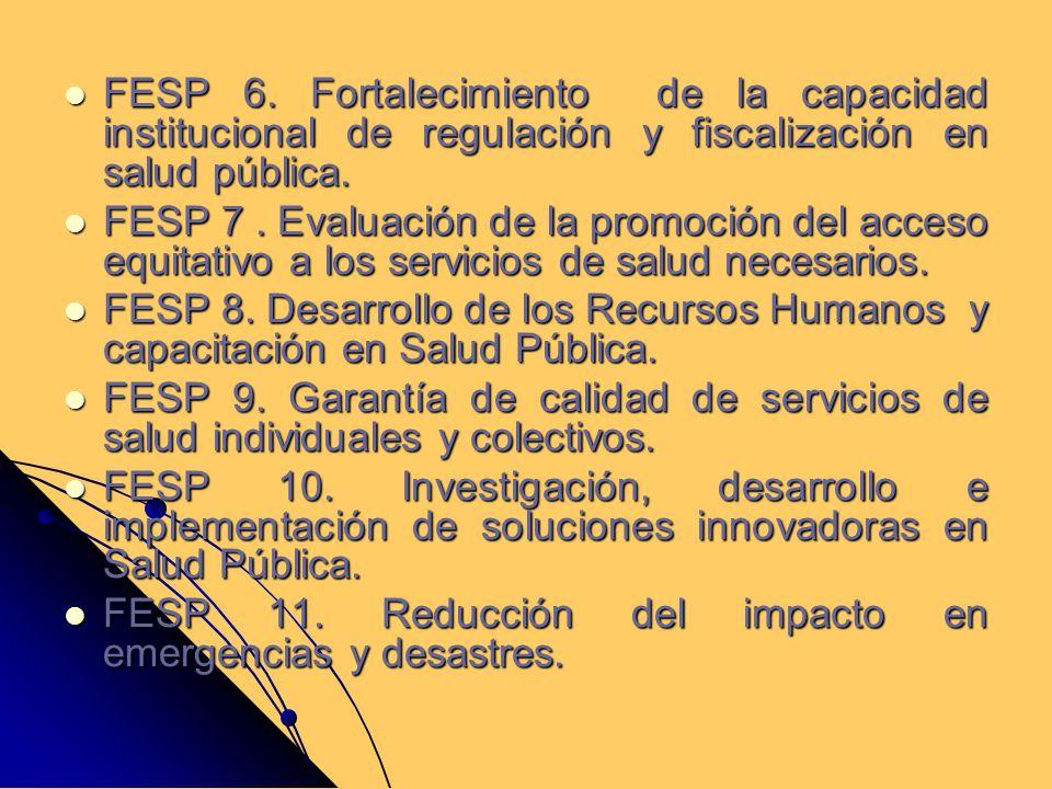 FESP 6. Fortalecimiento de la capacidad institucional de regulación y fiscalización en salud pública.