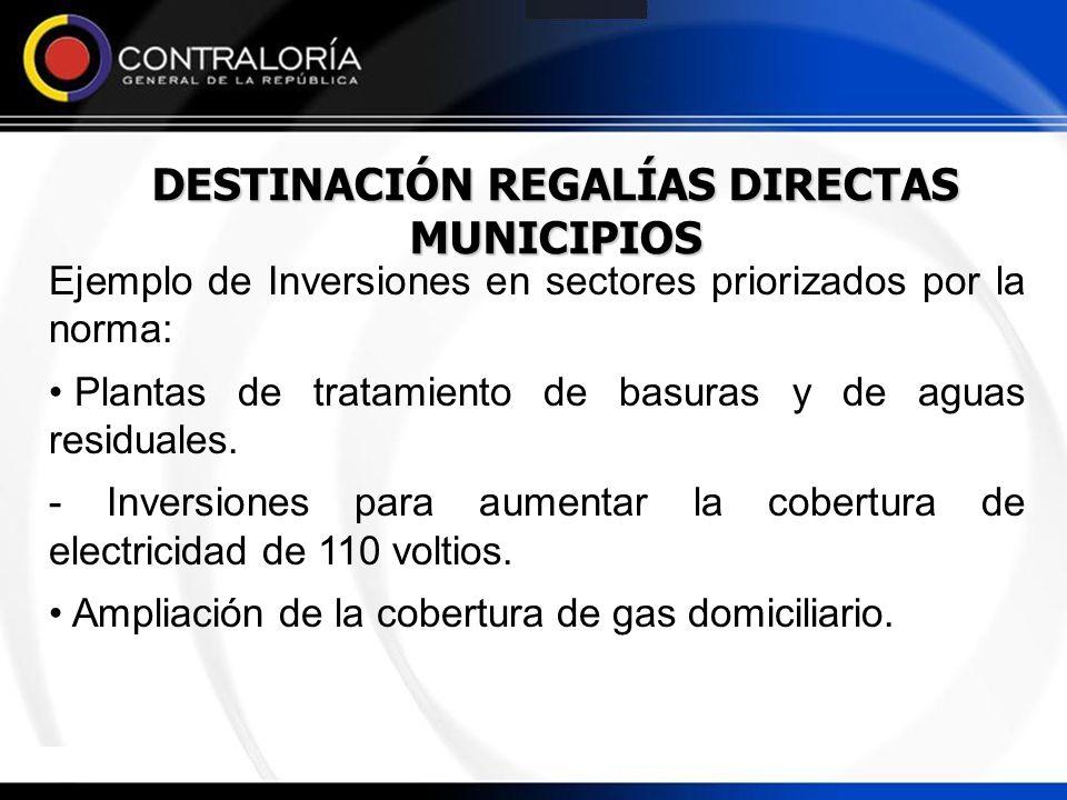 DESTINACIÓN REGALÍAS DIRECTAS MUNICIPIOS