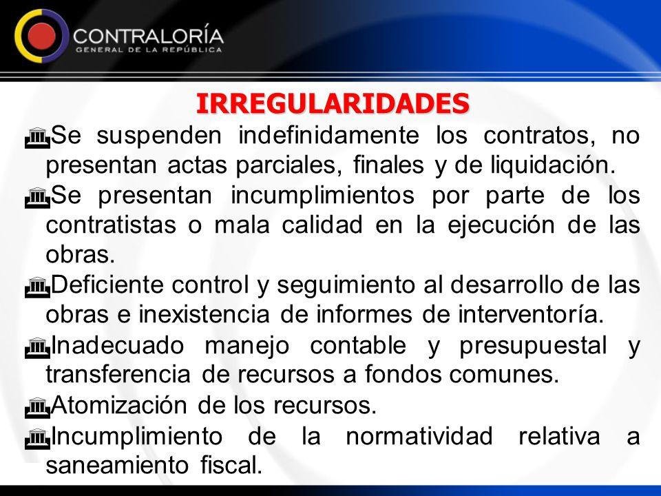 IRREGULARIDADES Se suspenden indefinidamente los contratos, no presentan actas parciales, finales y de liquidación.