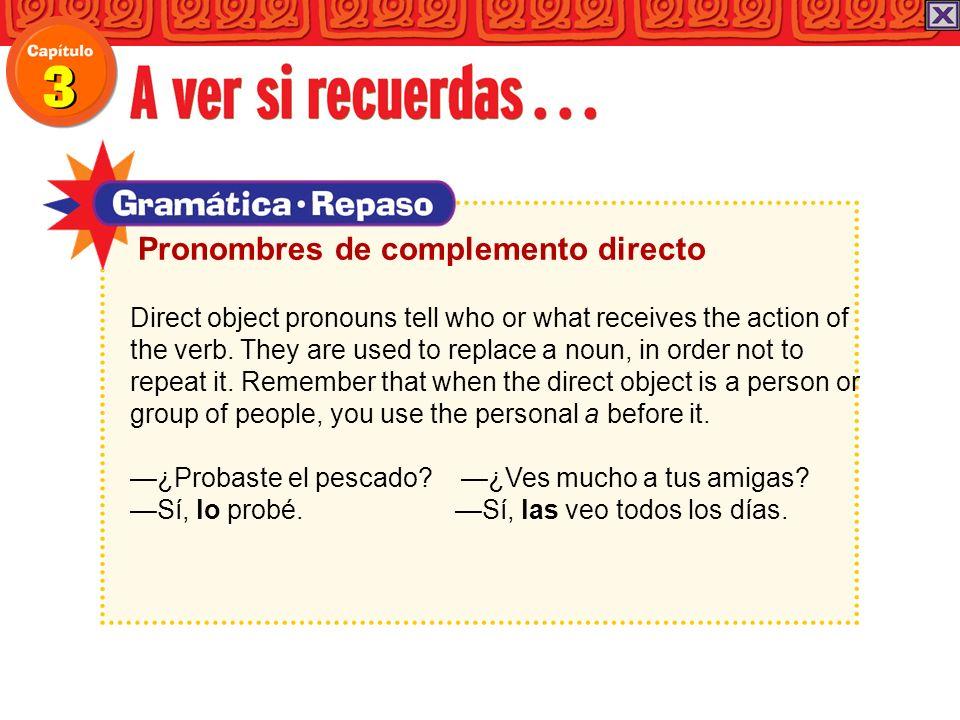 Pronombres de complemento directo