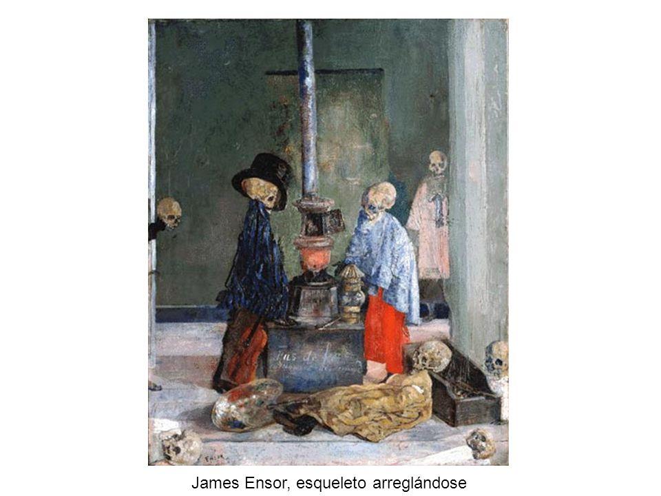James Ensor, esqueleto arreglándose