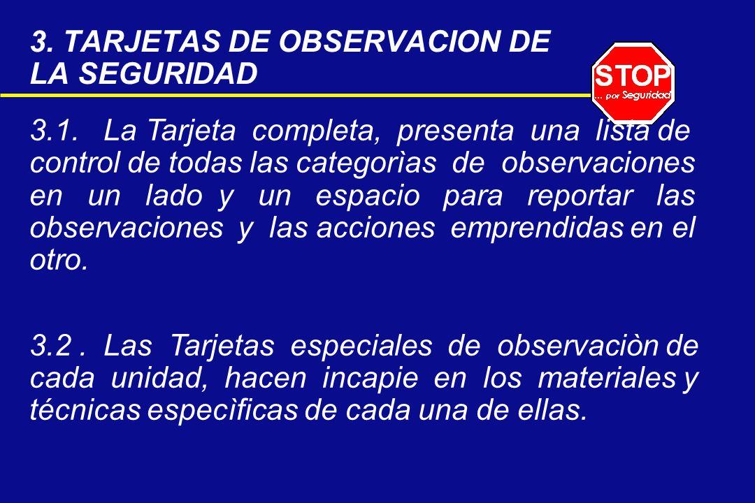 3. TARJETAS DE OBSERVACION DE LA SEGURIDAD