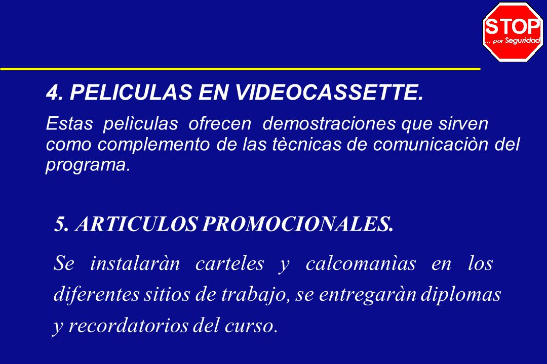 4. PELICULAS EN VIDEOCASSETTE