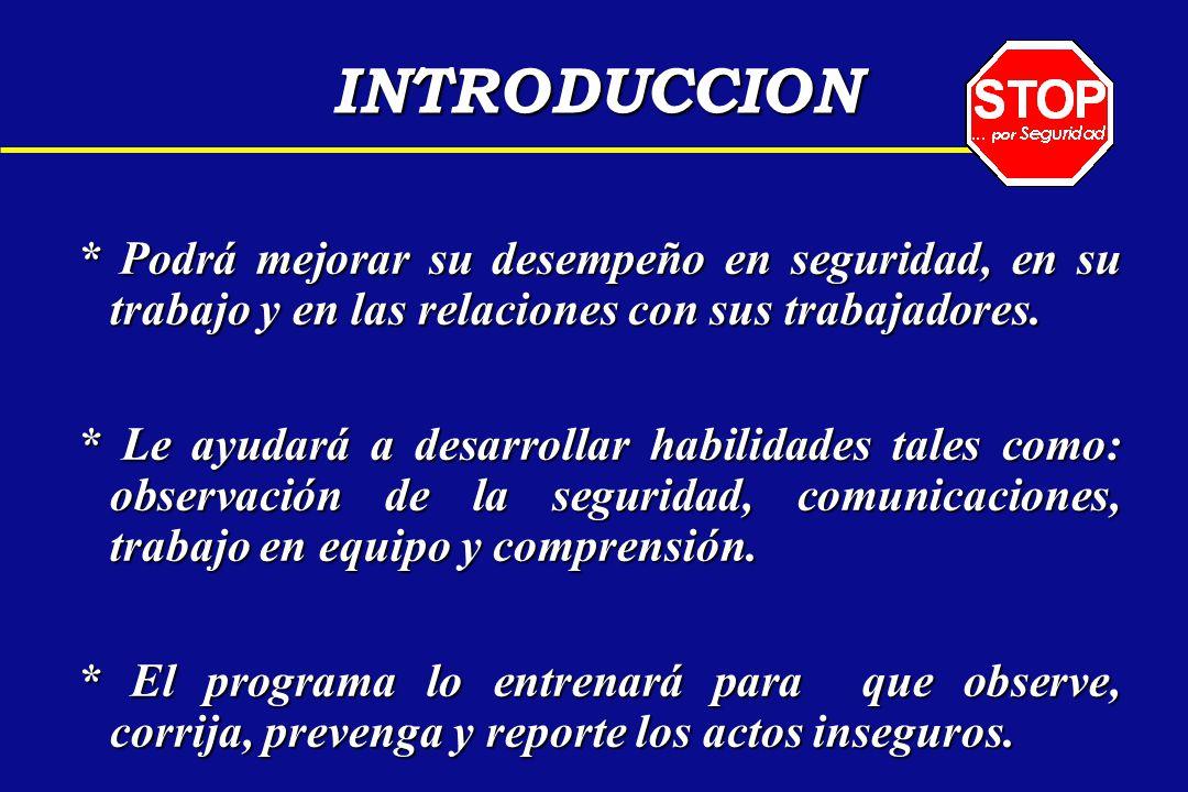 INTRODUCCION * Podrá mejorar su desempeño en seguridad, en su trabajo y en las relaciones con sus trabajadores.