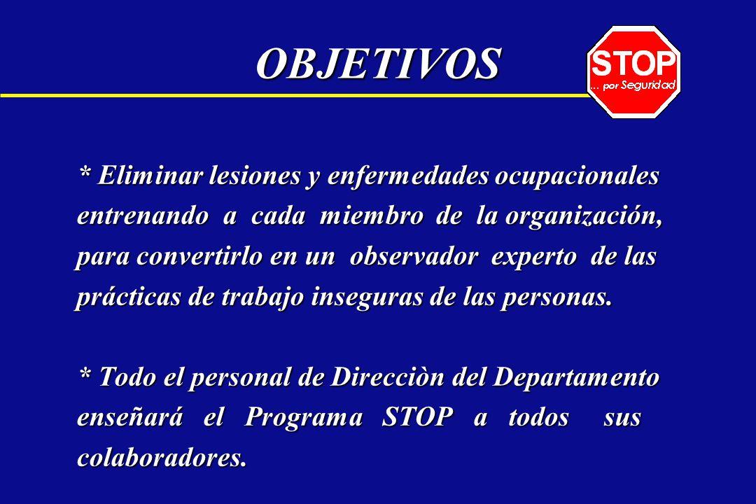 OBJETIVOS * Eliminar lesiones y enfermedades ocupacionales