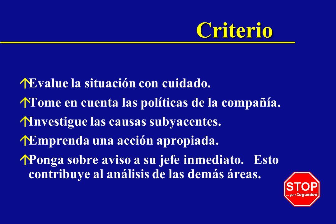 Criterio Evalue la situación con cuidado.