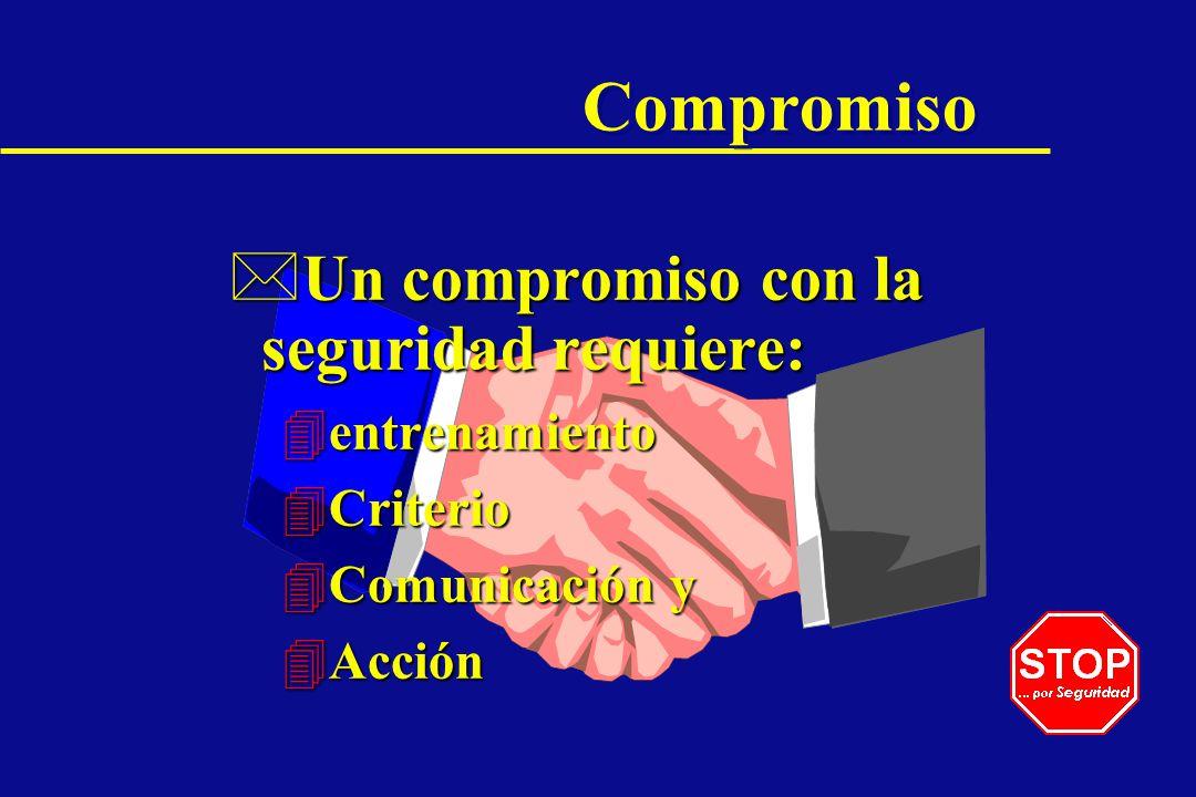 Compromiso Un compromiso con la seguridad requiere: entrenamiento