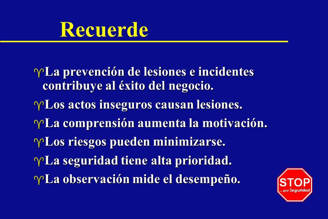 Recuerde La prevención de lesiones e incidentes contribuye al éxito del negocio. Los actos inseguros causan lesiones.