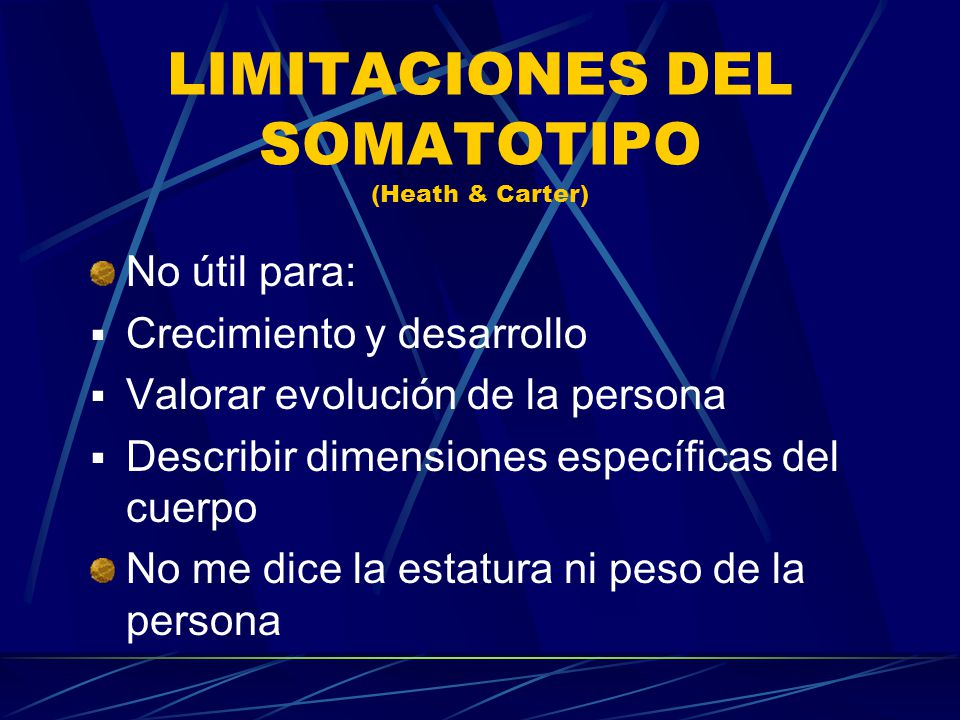 LIMITACIONES DEL SOMATOTIPO (Heath & Carter)