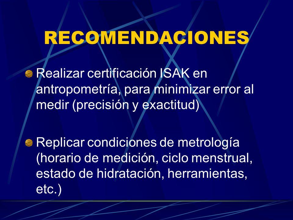 RECOMENDACIONES Realizar certificación ISAK en antropometría, para minimizar error al medir (precisión y exactitud)