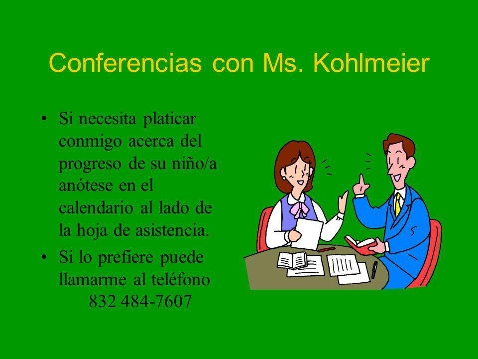 Conferencias con Ms. Kohlmeier