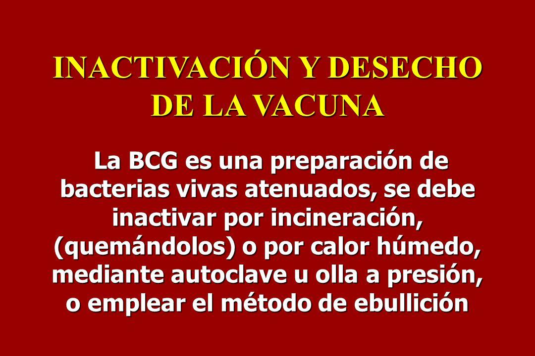 INACTIVACIÓN Y DESECHO DE LA VACUNA