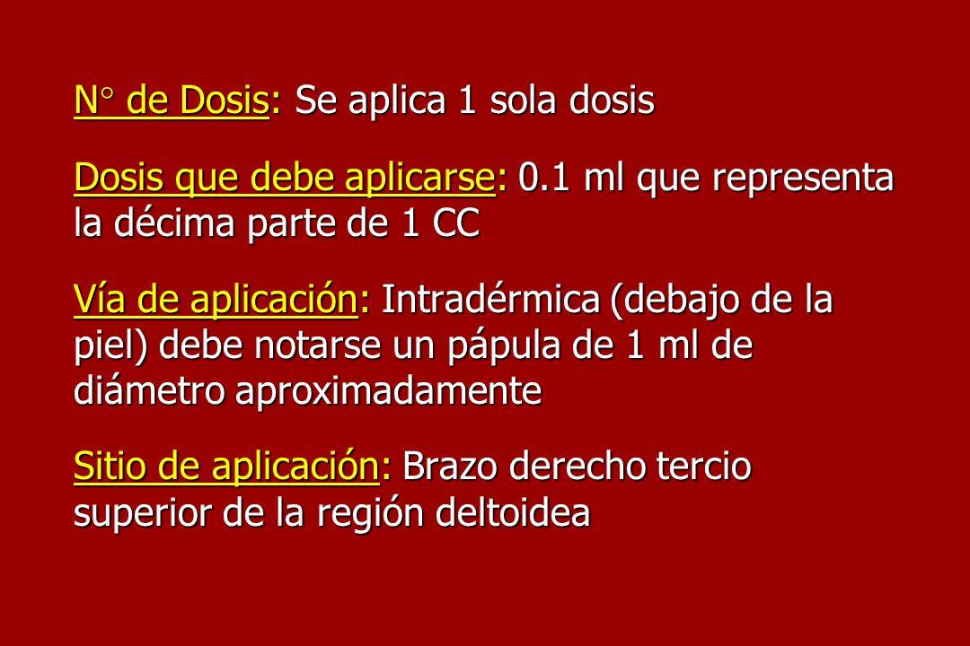 N° de Dosis: Se aplica 1 sola dosis