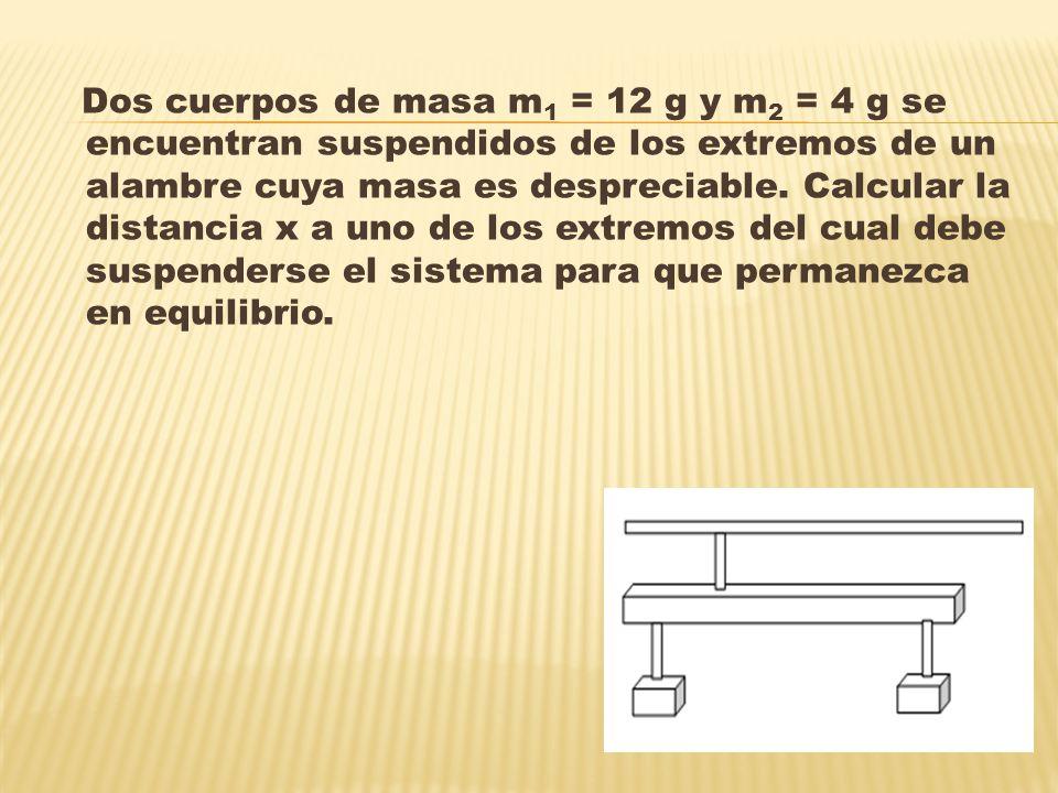 Dos cuerpos de masa m1 = 12 g y m2 = 4 g se encuentran suspendidos de los extremos de un alambre cuya masa es despreciable.