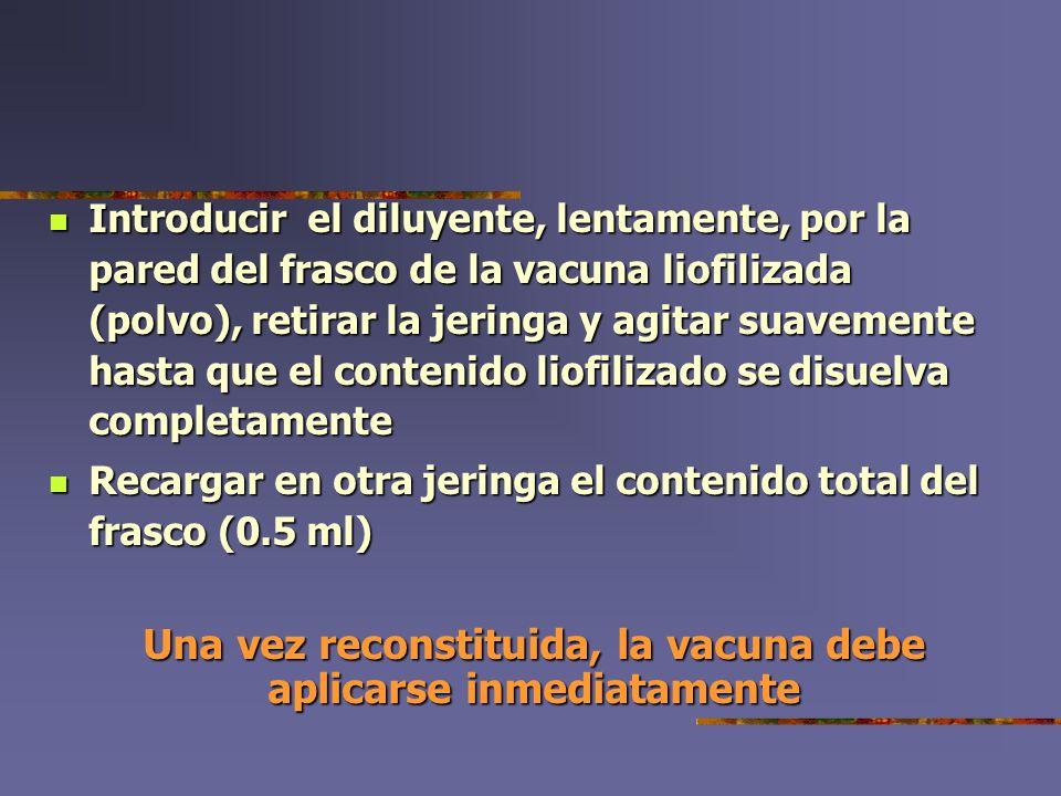 Una vez reconstituida, la vacuna debe aplicarse inmediatamente