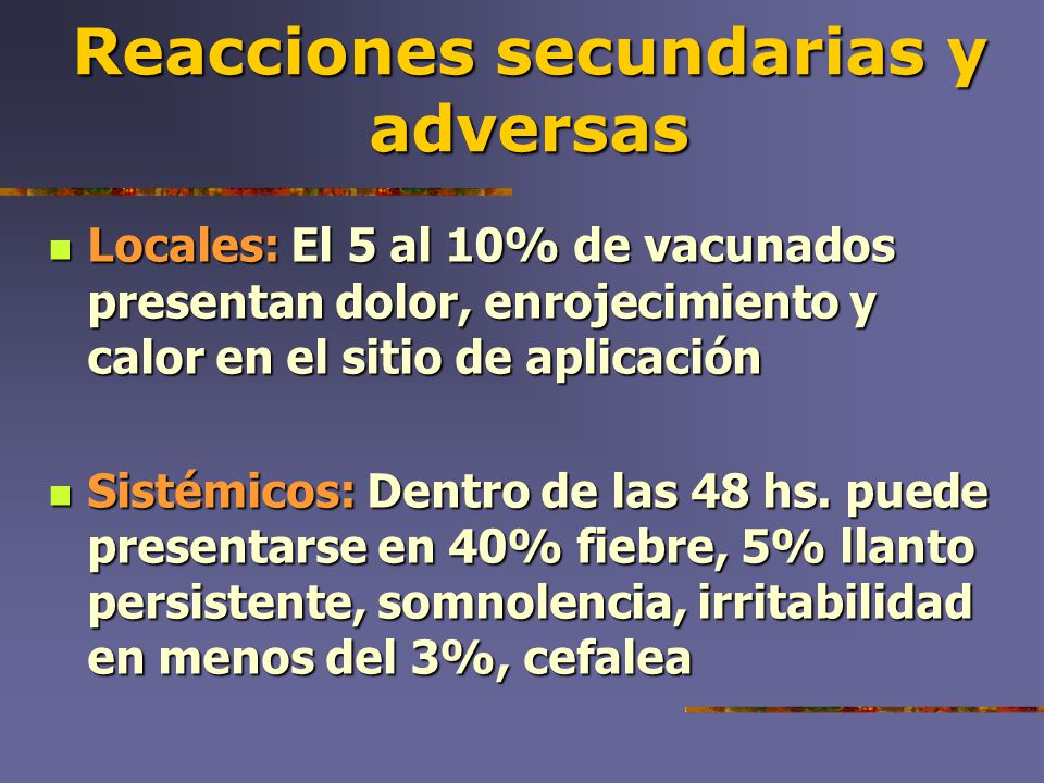 Reacciones secundarias y adversas