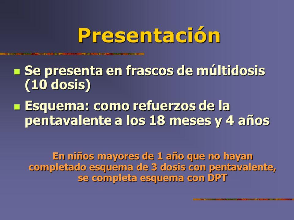 Presentación Se presenta en frascos de múltidosis (10 dosis)