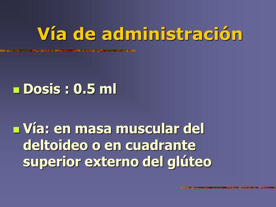 Vía de administración Dosis : 0.5 ml