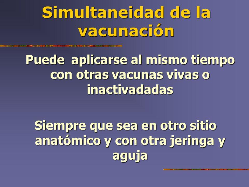 Simultaneidad de la vacunación