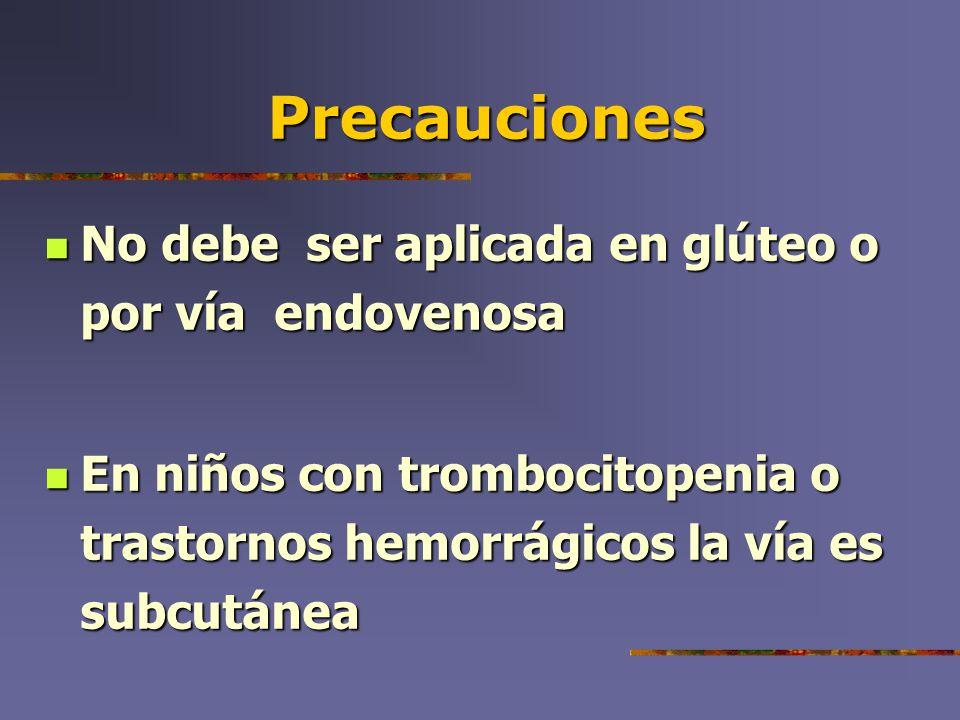 Precauciones No debe ser aplicada en glúteo o por vía endovenosa