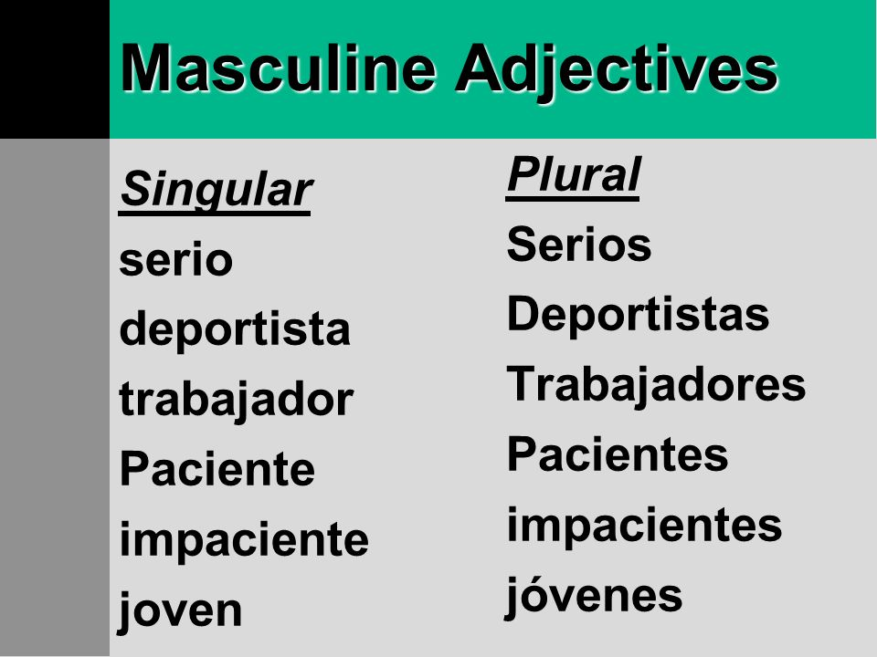 Masculine Adjectives Plural Singular Serios serio Deportistas