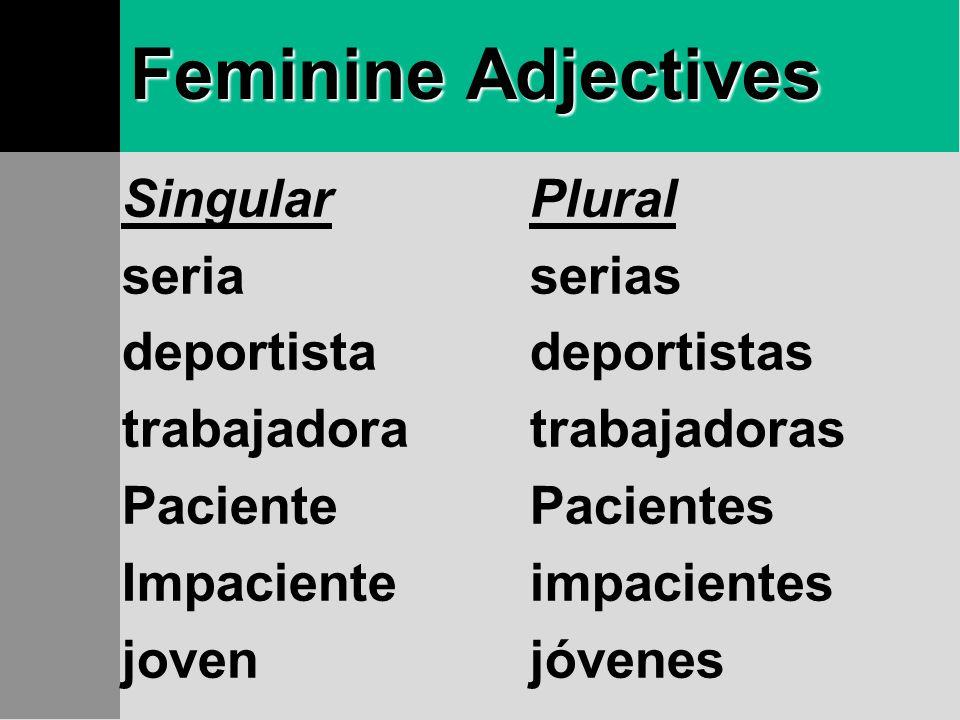 Feminine Adjectives Singular seria deportista trabajadora Paciente
