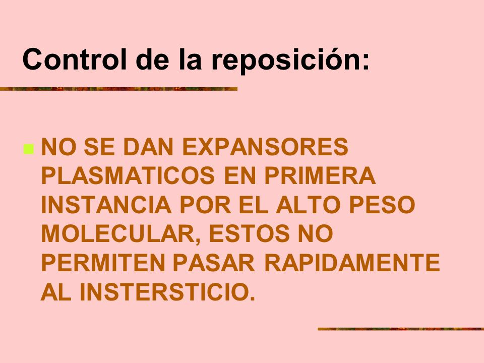 Control de la reposición:
