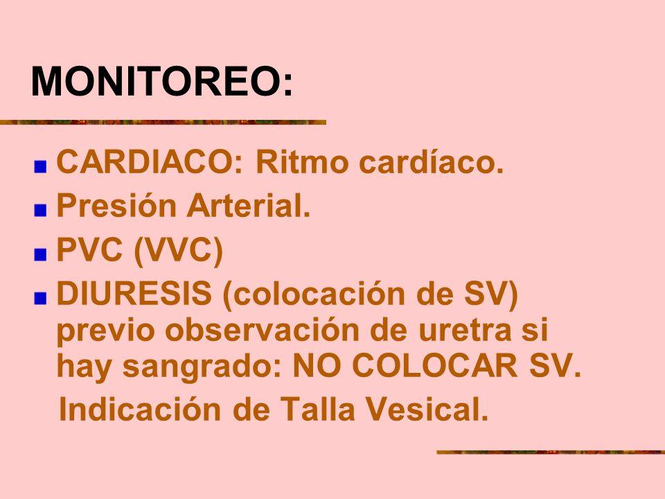 MONITOREO: CARDIACO: Ritmo cardíaco. Presión Arterial. PVC (VVC)