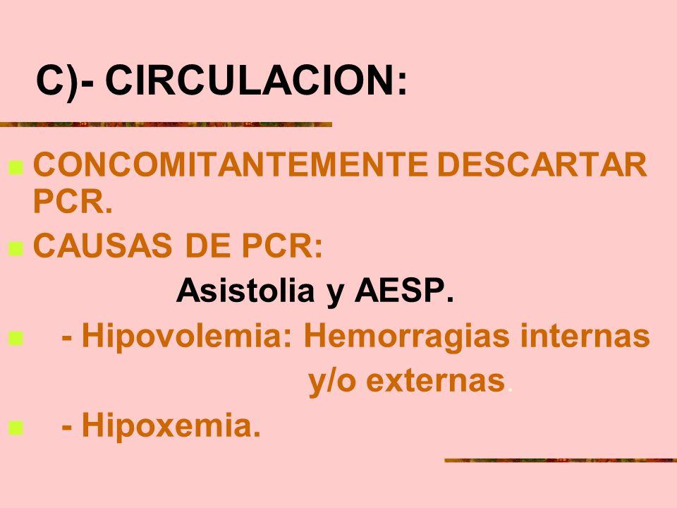 C)- CIRCULACION: CONCOMITANTEMENTE DESCARTAR PCR. CAUSAS DE PCR: