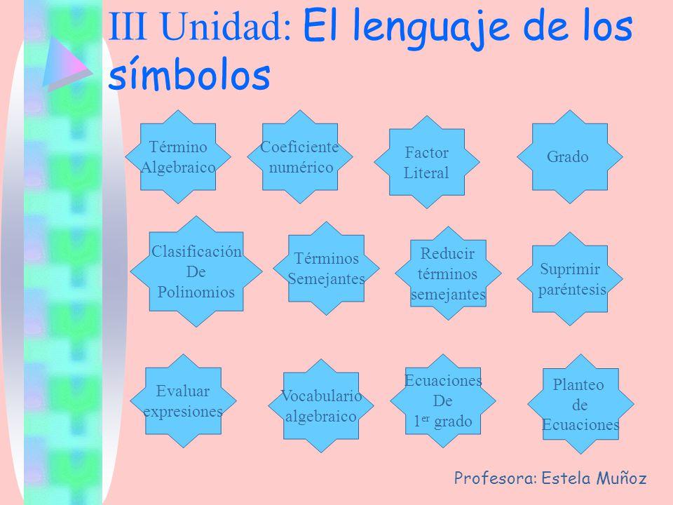 III Unidad: El lenguaje de los símbolos